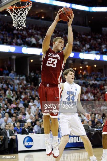Blake Griffin of the Oklahoma Sooners grabs a rebound while taking on the North Carolina Tar Heels during the NCAA Men's Basketball Tournament South...