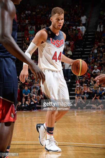 Blake Griffin of the USA White Team drives against the USA Blue Team during Team USA Basketball Showcase at the Thomas Mack Center on August 13 2015...