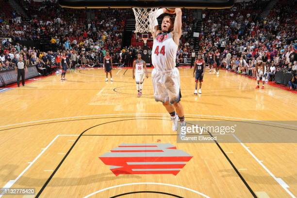 Blake Griffin of the USA White Team dunks against the USA Blue Team during Team USA Basketball Showcase at the Thomas Mack Center on August 13 2015...