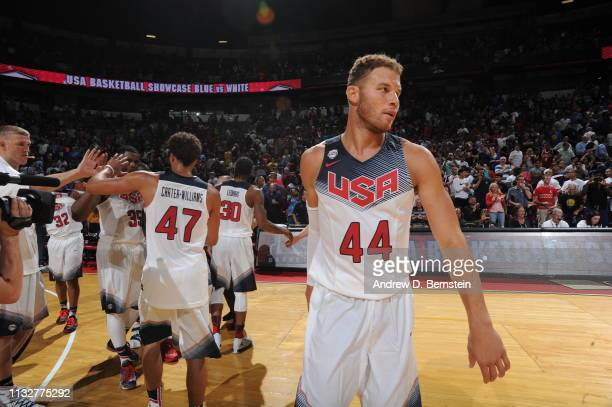 Blake Griffin of the USA White Team looks on against the USA Blue Team during Team USA Basketball Showcase at the Thomas Mack Center on August 13...