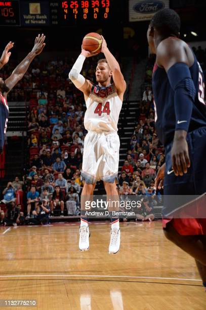 Blake Griffin of the USA White Team shoots against the USA Blue Team during Team USA Basketball Showcase at the Thomas Mack Center on August 13 2015...