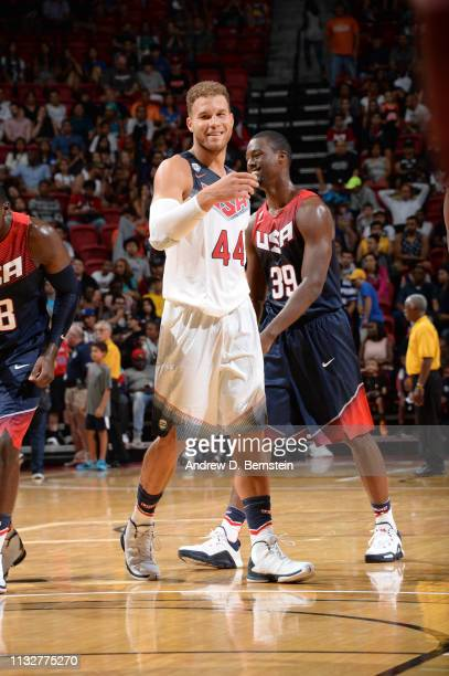Blake Griffin of the USA White Team smiles against the USA Blue Team during Team USA Basketball Showcase at the Thomas Mack Center on August 13 2015...