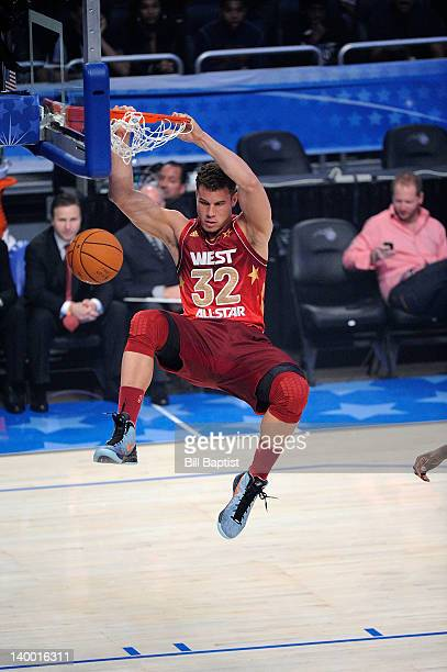 Blake Griffin of the Western Conference AllStars dunks during the 2012 NBA AllStar Game presented by Kia Motors as part of 2012 AllStar Weekend at...