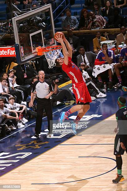 Blake Griffin of the Western Conference AllStars dunks during the 2014 NBA AllStar Game at Smoothie King Center on February 16 2014 in New Orleans...