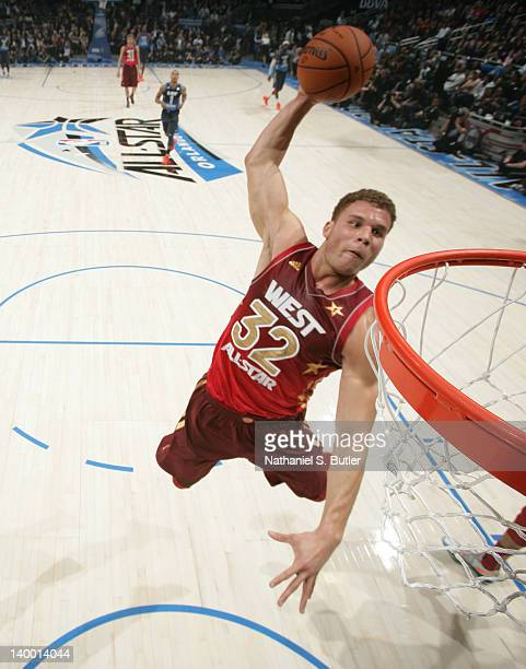 Blake Griffin of the Western Conference AllStars dunks while playing against the Eastern Conference AllStars during the 2012 NBA AllStar Game...