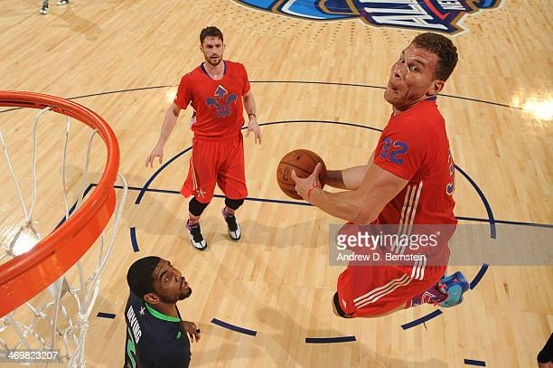 Blake Griffin of the Western Conference AllStars goes up for a dunk during the 2014 NBA AllStar Game as part of the 2014 AllStar Weekend at Smoothie...