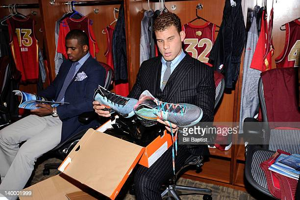 Blake Griffin of the Western Conference AllStars look at his new shoes in the lockerroom prior to the 2012 NBA AllStar Game presented by Kia Motors...
