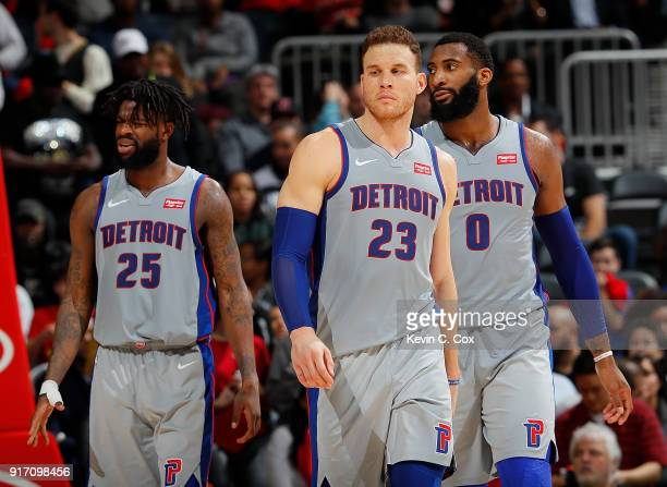 Blake Griffin Reggie Bullock and Andre Drummond of the Detroit Pistons react in the final seconds of their 118115 loss to the Atlanta Hawks at...
