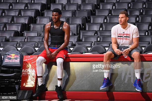 Blake Griffin talk with teammate Diamond Stone of the LA Clippers before the game against the Detroit Pistons on November 7 2016 at the STAPLES...