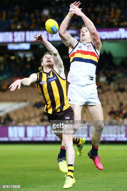 Blake Hardwick of the Hawks and Josh Jenkins of the Crows compete for the ball during the round 13 AFL match between the Hawthorn Hawks and the...