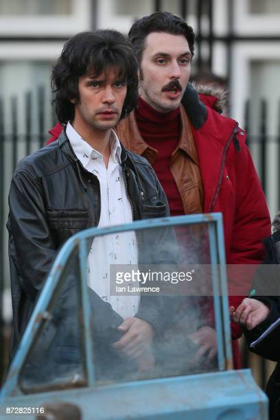 Blake Harrison and Ben Whishaw seen filming scenes for 'A Very English Scandal' in Hertford Hertfordshire