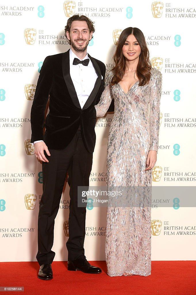 Blake Harrison and Gemma Chan pose in the winners room at