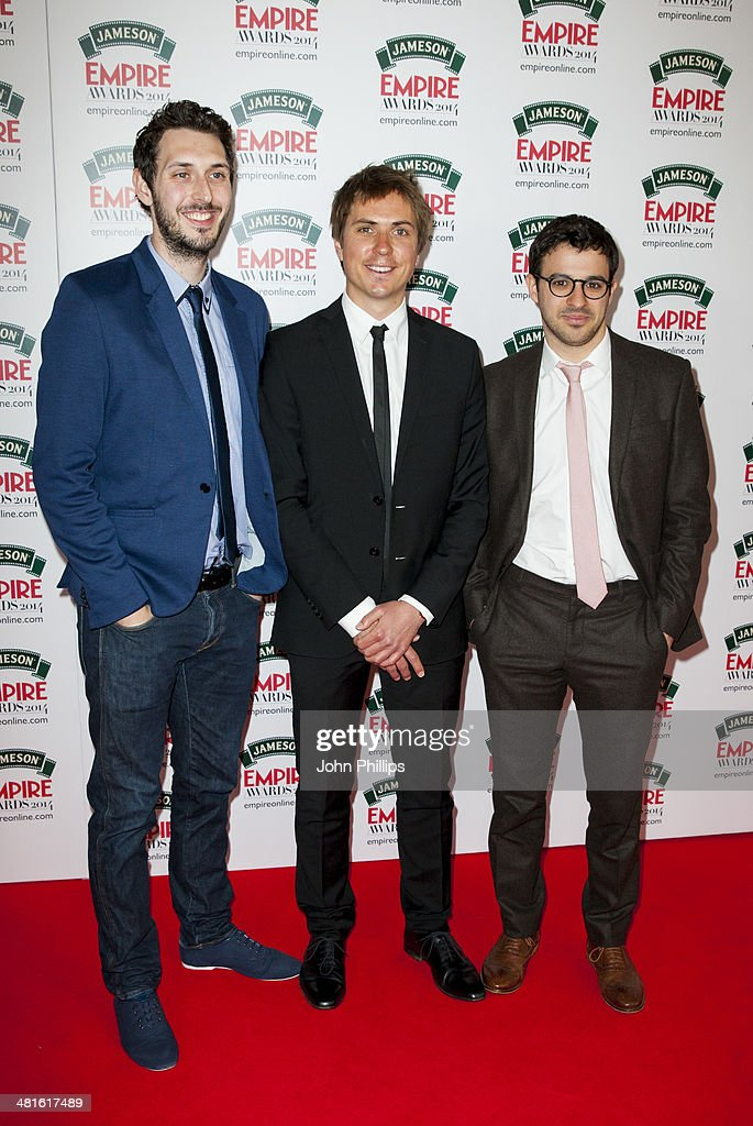 Blake Harrison, Joe Thomas and Simon Bird attend the Jameson Empire Film Awards at The Grosvenor House Hotel on March 30, 2014 in London, England.