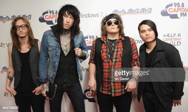 Blake Healy, Trace Cyrus, Mason Musso and Anthony Improgo of 'Metro Station' attend the Capital FM Jingle Bell Ball - Day 2 at 02 Arena on December...