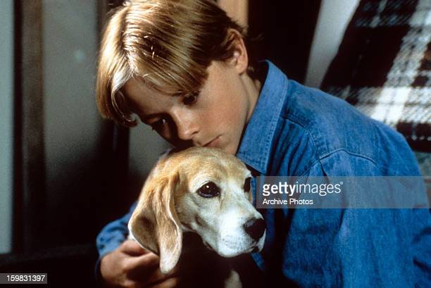 Blake Heron embracing a dog in a scene from the film 'Shiloh' 1996