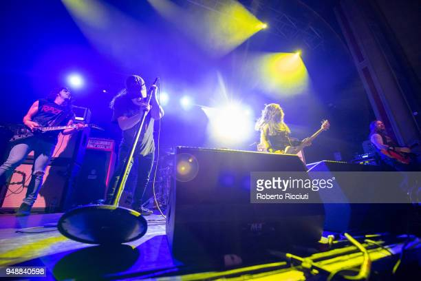 Blake Ibanez Riley Gale Chris Whetzel and Nick Stewart of Power Trip perform on stage at O2 Academy on April 19 2018 in Glasgow Scotland