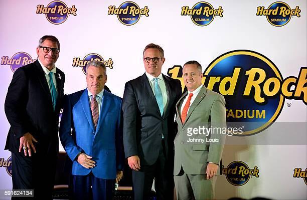 Blake James Jim Allen Tom Garfinkel and Bernie Kosar attend Miami Dolphins Stadium Announcement Press Conference for the Stadium new name Hard Rock...