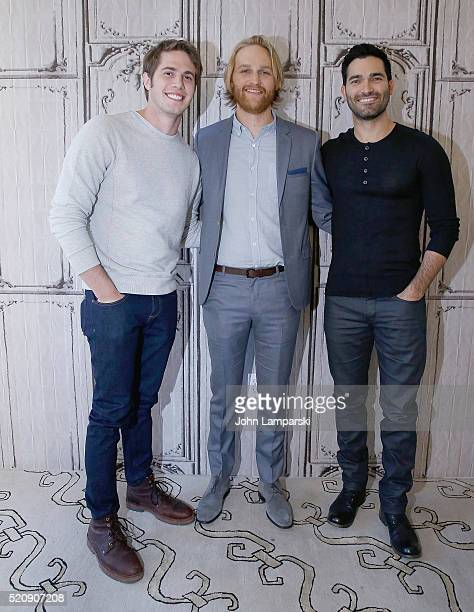 """Blake Jenne, Tyler Hoechlinan and Wyatt Russell of """"Everybody Wants Some!!"""" attend AOL Build Speaker Series at AOL Studios In New York on April 13,..."""