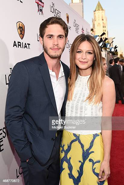 Blake Jenner and actress Melissa Benoist attends the premiere of Twentieth Century Fox's The Longest RIde at the TCL Chinese Theatre IMAX on April 6...
