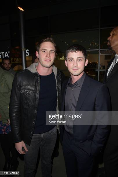 Blake Jenner and Logan Lerman attend the premiere of A24 and DirecTV's The Vanishing Of Sidney Hall at ArcLight Hollywood on February 22 2018 in...