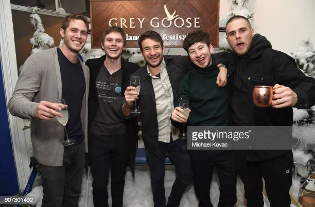 Blake Jenner Evan Peters Bart Layton Barry Keoghan and Jared Abrahamson attend the 'American Animals' afterparty at the Grey Goose Blue Door during...