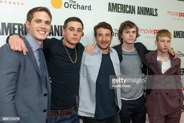 Blake Jenner Jared Abrahamson Bart Layton Evan Peters Barry Keoghan attend American Animals premiere at Regal Union Square