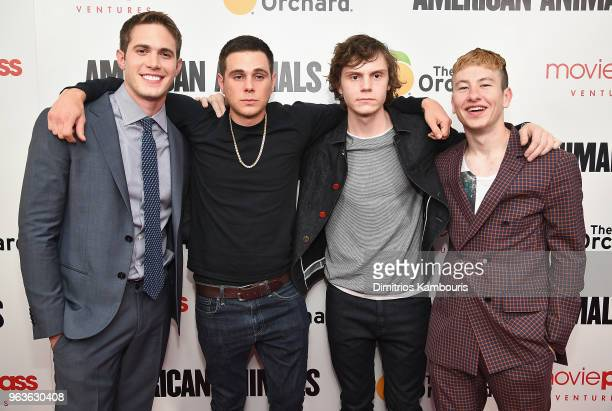 Blake Jenner Jared Abrahamson Evan Peters and Barry Keoghan attend the American Animals New York Premiere at Regal Union Square on May 29 2018 in New...