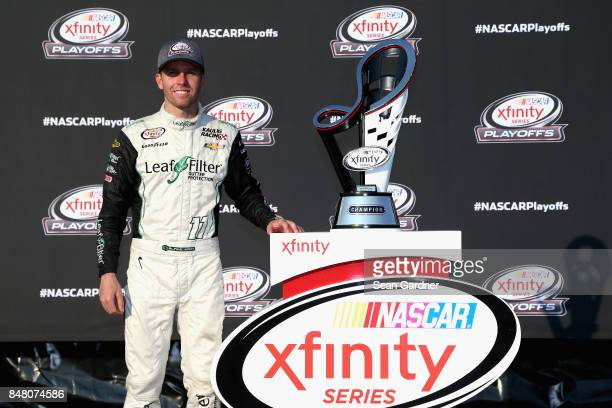 Blake Koch driver of the LeafFilter Gutter Protection Chevrolet poses for a photo opportunity following the NASCAR XFINITY Series TheHousecom 300 at...
