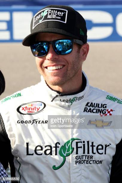 Blake Koch driver of the LeafFilter Gutter Protection Chevy during prerace activities for the EcoBoost 300 at HomesteadMiami Speedway on November 18...