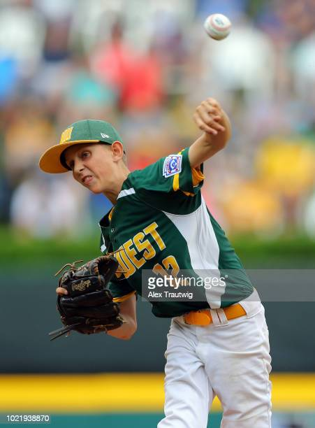 Blake Larson of the Midwest team from Des Moines IA pitches during Game 10 of the 2018 Little League World Series against the New England team from...