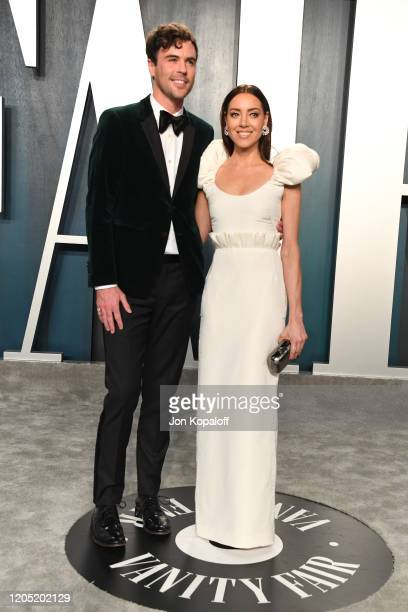 Blake Lee and Aubrey Plaza attends the 2020 Vanity Fair Oscar Party hosted by Radhika Jones at Wallis Annenberg Center for the Performing Arts on...