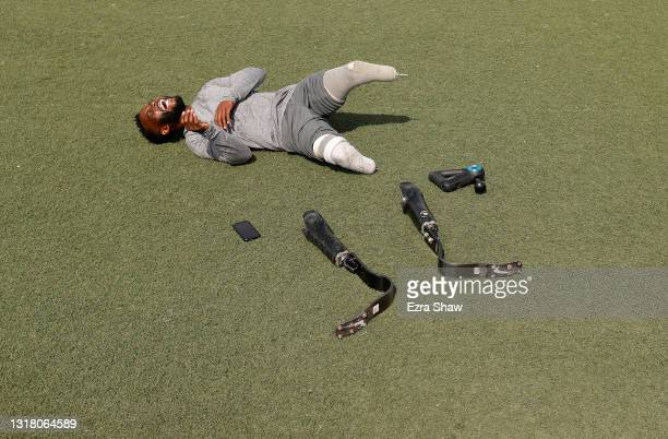 Blake Leeper laughs at a joke during a training session at Dorsey High School on May 14, 2021 in Los Angeles, California. Leeper is an eight-time...