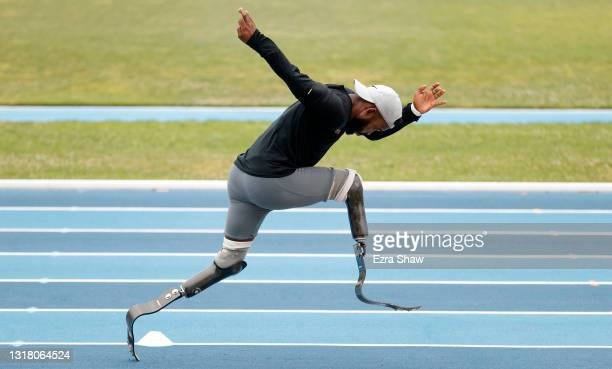 Blake Leeper trains at UCLA's Drake Stadium on May 13, 2021 in Los Angeles, California. Leeper is an eight-time Paralympic Track and Field...