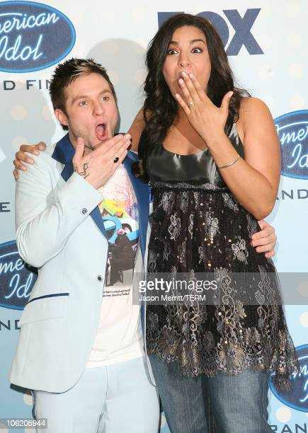 Blake Lewis and Jordin Sparks during American Idol Season 6 Finale Press Room at Kodak Theatre in Hollywood California United States