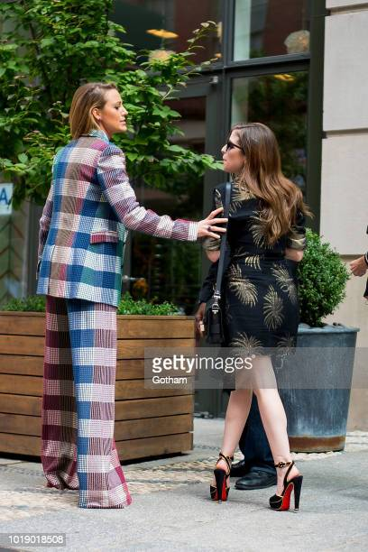 Blake Lively and Anna Kendrick are seen in SoHo on August 18 2018 in New York City
