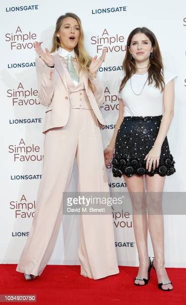 Blake Lively and Anna Kendrick attend the UK Premiere of 'A Simple Favour' at the BFI Southbank on September 17 2018 in London England