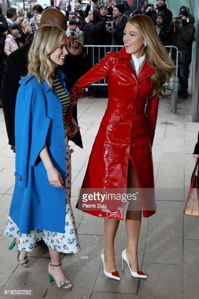 Blake Lively and Emily Blunt arrive at the Michael Kors Show during the New Yorl Fashion Week 2018 on February 14 2018 in New York City