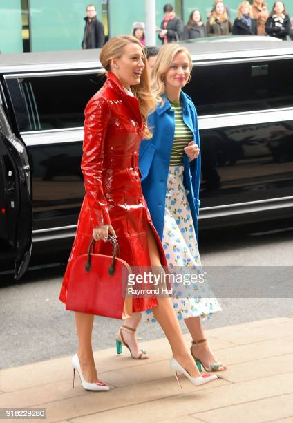 Blake Lively and Emily Blunt arrive at the Michael Kors Show during the New Yorl Fashion Week on February 14 2018 in New York City