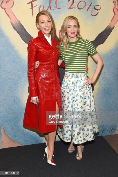 Blake Lively and Emily Blunt attend the Michael Kors fashion show during New York Fashion Week at Vivian Beaumont Theatre on February 14 2018 in New...