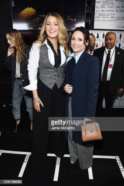 Blake Lively and Julia LouisDreyfus pose backstage during the Michael Kors FW20 Runway Show on February 12 2020 in New York City