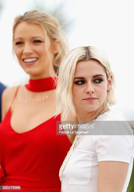 Blake Lively and Kristen Stewart attend the 'Cafe Society' Photocall during The 69th Annual Cannes Film Festival on May 11 2016 in Cannes France