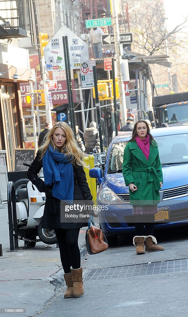 Blake Lively and Leighton Meester filming on location for 'Gossip Girl' on December 14, 2011 in New York City.
