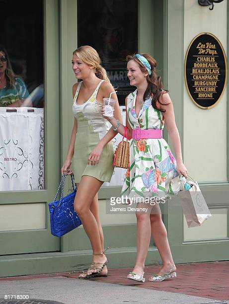 """Blake Lively and Leighton Meester on location for """"Gossip Girl"""" on June 25, 2008 in Port Washington, New York."""