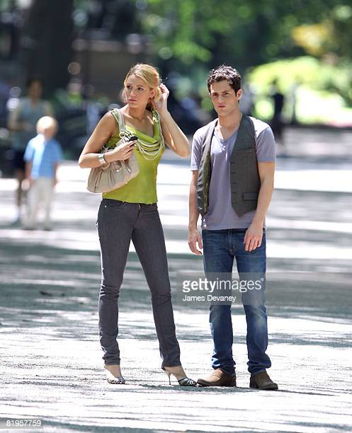 Blake Lively and Penn Badgley on location for 'Gossip Girl' in Central Park on July 16 2008 in New York City