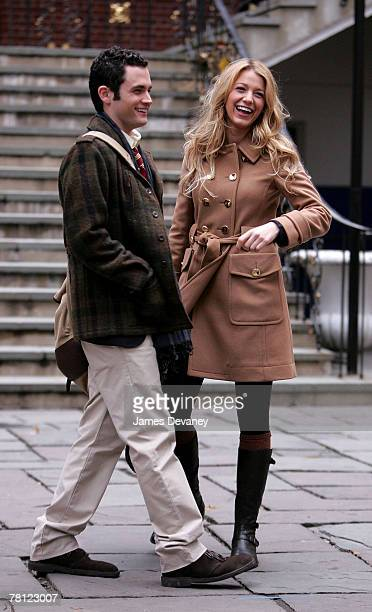Blake Lively and Penn Badgley on location for 'Gossip Girl' in New York City on November 27 2007
