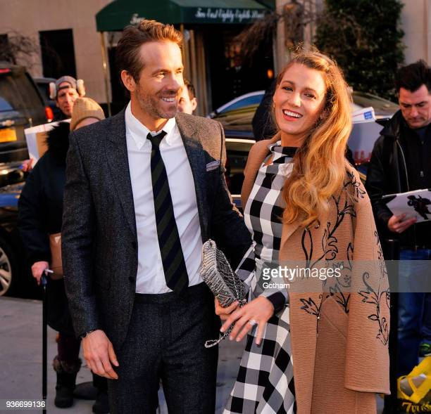 Blake Lively and Ryan Reynolds arrive at the Guggenheim for a movie premiere on March 21 2018 in New York City