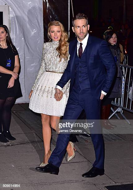 Blake Lively and Ryan Reynolds arrive to 2016 amfAR New York Gala at Cipriani Wall Street on February 10 2016 in New York City