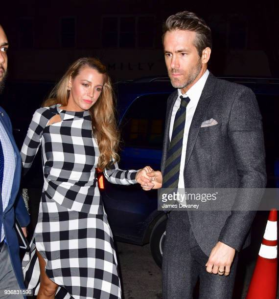 Blake Lively and Ryan Reynolds arrive to the 'Final Portrait' New York screening after party at Levy Gorvy Gallery on March 22, 2018 in New York City.