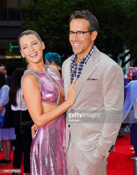 Blake Lively and Ryan Reynolds at 'Free Guy' Premiere on August 03, 2021 in New York City.