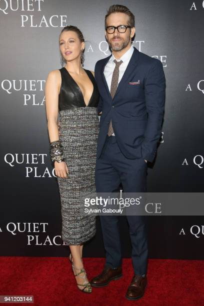 Blake Lively and Ryan Reynolds attend New York Premiere of 'A Quiet Place' on April 2 2018 in New York City